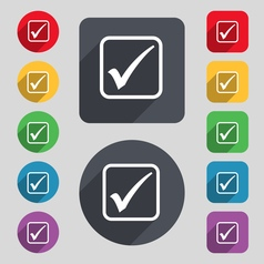 A check mark icon sign A set of 12 colored buttons vector image