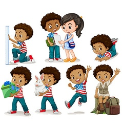 African american boy doing different activities vector image