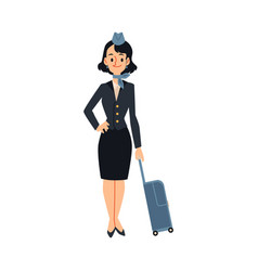 air hostess or stewardess ready to journey flat vector image