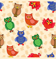 Amusing colourful owls seamless pattern vector
