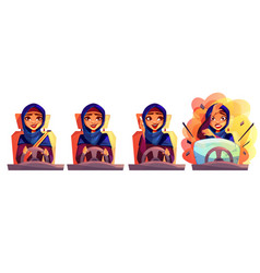 Arabian woman driving car vector