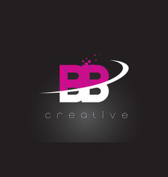 Bb b b creative letters design with white pink vector