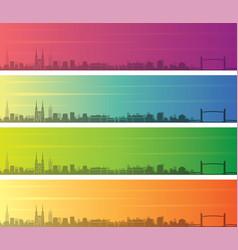 Bordeaux multiple color gradient skyline banner vector