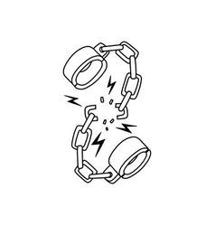 broken shackles in vintage monochrome style vector image