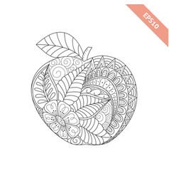 cartoon ornate apple coloring book vector image