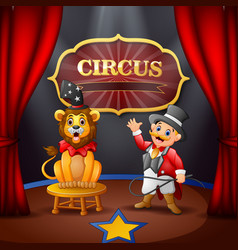 cartoon ringmaster and a lion on the circus stage vector image