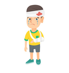 caucasian boy with broken arm and bandaged head vector image