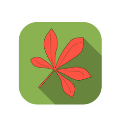 chestnut leaf flat icon with long shadow autumn vector image