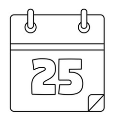 christmas date calendar icon outline style vector image