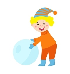 Christmas kid playing winter games vector image