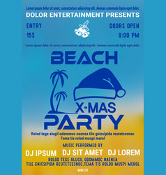 christmas party at the beach poster or flyer vector image