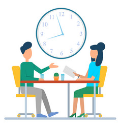 Colleagues discuss work sitting at desk vector