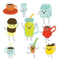 Cute soft drink characters collection set vector