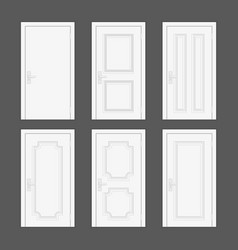 different type closed white door vector image