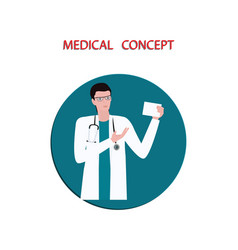 doctor - man with stethoscope - flat style vector image