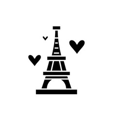 eiffel tower black icon sign on isolated vector image