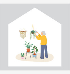 Elderly old people senior people at home vector