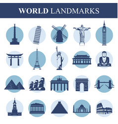 famous monuments and landmarks icons travel and vector image