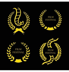 Film Festival Gold Award Set vector image