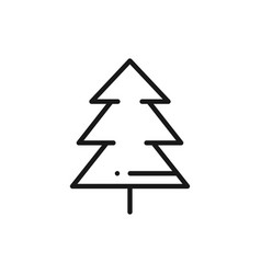 fir tree line icon spruce forest hiking sign and vector image