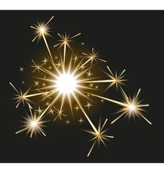 Fireworks sparkler on black background vector