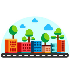 flat style houses with road cartoon city vector image