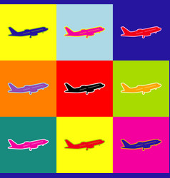 flying plane sign side view pop-art vector image
