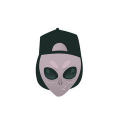 Friendly alien head in human cap vector