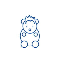 funny little animal line icon concept funny vector image