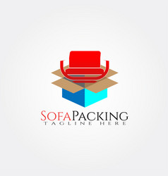 Furniture logo templatebox and seat icon vector