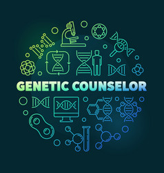 genetic counselor round colorful outline vector image