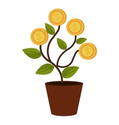 Green plant in a pot with coins vector