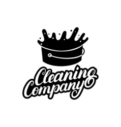 Hand written lettering cleaning company logo label vector