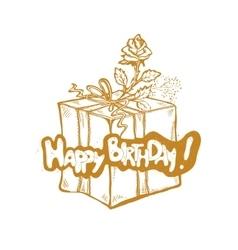 Happy Birthday golden sketch vector