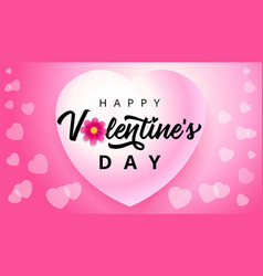 happy valentines day hearts flying on pink vector image