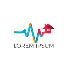 Home care and pulse heart logo vector