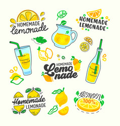 Homemade lemonade set typography and doodle vector