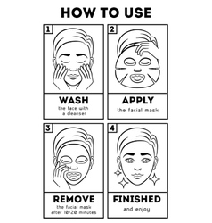 How to use facial sheet mask beauty and vector image