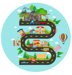 Infographic winding road and buildings vector