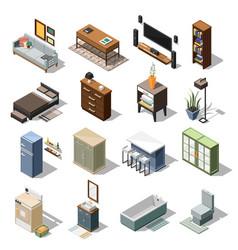 Isometric apartment furniture set vector