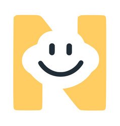 Letter n with a smile on the face character in vector