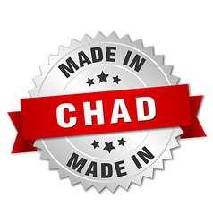 made in Chad silver badge with red ribbon vector image