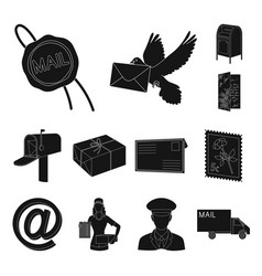mail and postman black icons in set collection for vector image