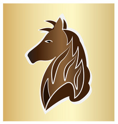 majestic brown horse on gold background vector image