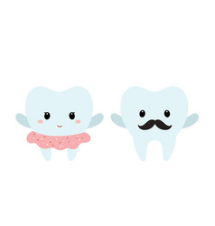 Male and female teeth vector