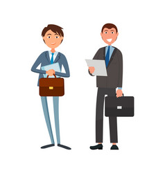 male office workers suits cartoon character vector image