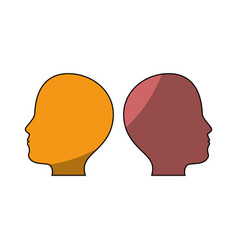 male two heads silhouette vector image