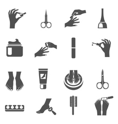 Manicure And Pedicure Black Icons Set vector