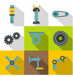 Mechanisms icon set flat style vector