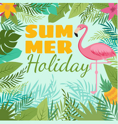 Modern summer background with flamingo and vector